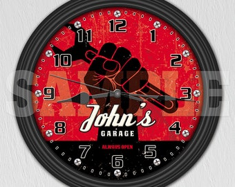 Mechanic - Man Cave - Garage - Personalized Retro-Style Wall Clock ITEM#047