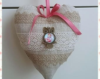 """Pretty heart in """"shabby"""" chic linen fabric 18 cm to offer where to hang."""