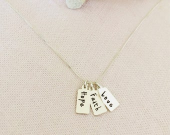 Faith, Hope, Love sterling Silver Bar Necklace, or Customize
