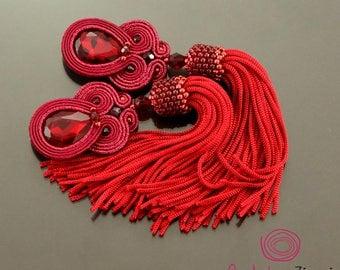 Burgundy tassel earrings, garnet soutache earrings, red earrings, burgundy fringe, long unique earrings, red boho earrings, long red tassel