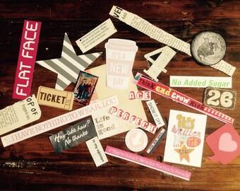 Paper Craft Kit, Scrapbooking Ephemera (25 pieces), Journalling Embellishments, Craft Kit, Glue Book, Junk Journal, Daily Planning