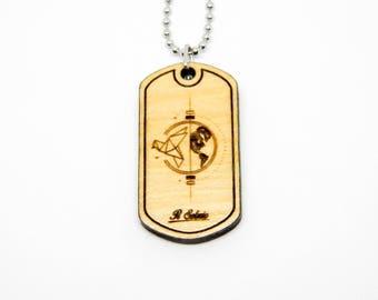Earth globe Keychain necklace wood DOGTAG ORIGAMI