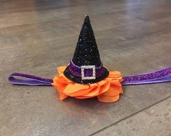 Mini witch hat headband, mini witch hat on flower