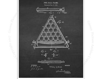 Billiards Poster art print #3 Billiard Ball Frame design invented in 1891 with chalkboard background, Billiard gift for him, rec room decor