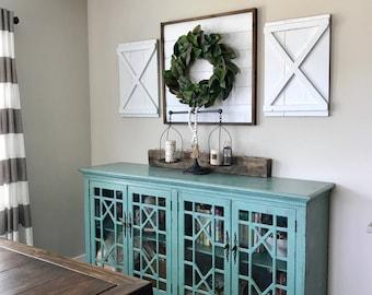 Barn door wall decor etsy - Decorative interior wall shutters ...
