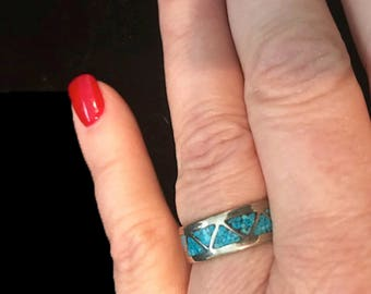 Estate Vintage Authentic Turquoise  Sterling Silver Band Size 6 Ring