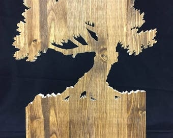one of a kind ALL WOOD scroll saw cut tree that was hand designed and hand cut medium brown