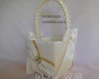 Flower girl basket, Ivory and gold flower girl basket, Wedding basket, Lace flower girl basket, Wedding decorations, Gold basket