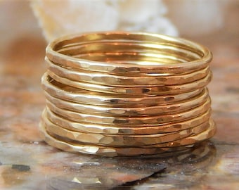 Gold Stacking Ring  Dainty Stackable Ring  Hammered Thin Stacking Ring Midi Ring, Gift