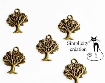 Set of 5 leaves and trees charm bronze 20 mm x 17mm