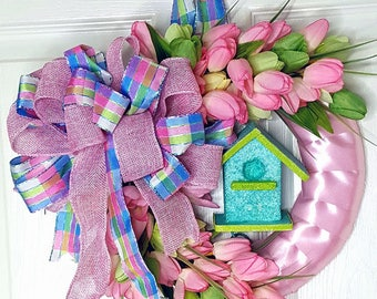 Birdhouse wreath-tulip wreath- Spring Wreath- Mother's Day Wreath- Gift for Mom- Mother's Day Gift- Shabby Chic Decor