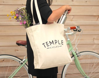 Temple Cycles Tote Bag - Heavy duty canvas shopper
