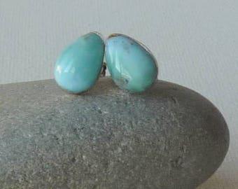 Vintage Larimar Stud Earrings Aqua Pear Shape Larimar Pierced Earrings Larimar Minimalist 925 Jewelry, Pierced Larimar Gems in Stud 925