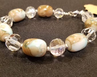 Blue marbled glass bracelet