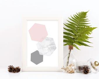Hexagon Geometric Print / Marble Print / Grey Print / Home Decor / Modern Art