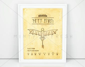 """DreamWorks How To Train Your Dragon """"Night Fury"""" Toothless - 8x10 Instant Download Print Frame Wall Decor"""