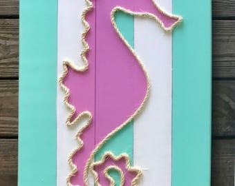 Handmade Seahorse with Rope Beach Pallet Art Rope Art Nautical Art Seahorse Art Rope Art Pallet Art Coastal Decor