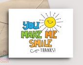 Teacher Appreciation Card | PRINTABLE Card | You Make Me Smile | Thank You Card | Teacher Gift | End of School | Print & Color!