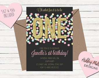Pink Gold Teal First Birthday Invitation - 1st Birthday Invite - Confetti Invitation - Confetti Party - Girly - Pink Glitter - First Bday