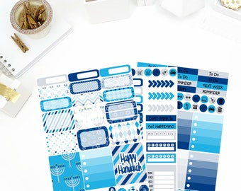 Hanukkah Weekly Kit Stickers! Perfect for your Erin Condren Life Planner, calendar, Paper Plum, Filofax!