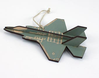 Wooden F-35 Lighting II Airplane Fighter Jet Christmas Ornament