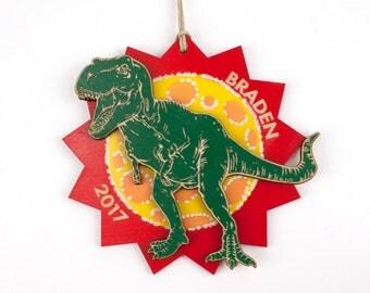 Personalized Dinosaur Christmas Ornament tyrannosaurus rex, t. rex, t-rex
