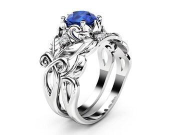 Sapphire Leaf Engagement Ring Set 14K White Gold Sapphire Ring Leaf Design Engagement Ring with Matching Band