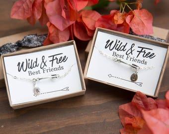Best Friend Silver Bracelets, Arrow Bracelets, Set of two Bracelets, Wild and Free , Initial Bracelet, Best Friend Gift, Frienchsip Bracelet