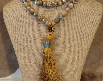 Wood Stone Agate Necklace