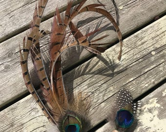 Large pheasant and feather fascinator