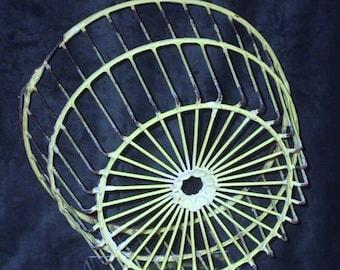 Farmyard Decor Vintage Wire Egg Basket, Yellow Wire Bucket With Handle, Hanging Flower Basket, Gift Basket Supply, Storage Basket #14