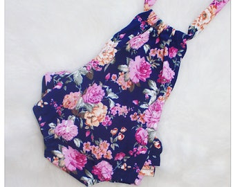 Navy Floral Ruffle Back Baby Romper - Sunsuit