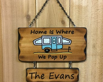 Pop Up Camper Sign With A Name Banner