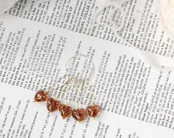 Heart stitch markers for knitting, non snag, pack of five glass hearts