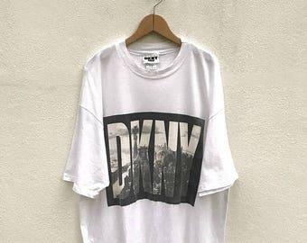 20% OFF Vintage DKNY Big Logo T Shirt / Dkny New York Tees / Hip Hop Swag Rap / Dkny White T Shirt