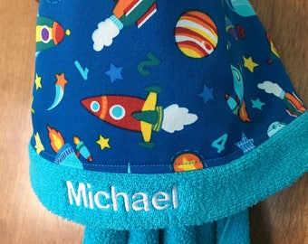 Space Hooded Bath Towel,Personalized Hooded Towel,Space Towel,Boys Hooded Towel, Personalized boys towel,Spaceship towel,hooded towel kids