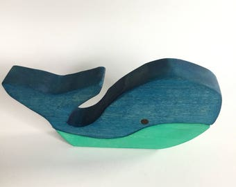 Wooden Whale, Stacking Toy, Wood Block Toy, Wood Puzzle Whale