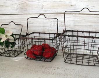 Farmhouse Decor - Rustic Wire Basket Set with Wire Handles-  Rusty Look Farm Basket, Farmhouse Kitchen Baskets
