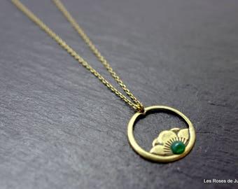 Peony art deco pendant necklace