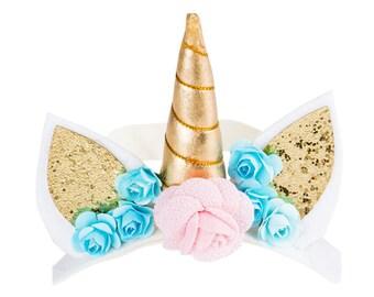 "Mini First Birthday Unicorn Hat, 4"" Smash Cake Party Hat,  Birthday Crown, Birthday Photo Prop Pink Party Fabric Glitter Unicorn Fairytale"
