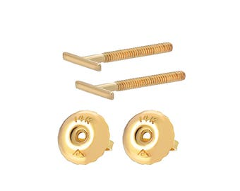 Tousi Jewelers Bar Stud Earrings - 14k Yellow Gold Line Studs Earring with Screw Back - Real Solid Tiny T line Post for Everyday