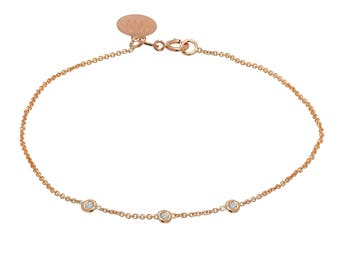 Tousi Jewelers Solitaire Diamond Bracelet 0.15ct - Solid 14k Rose Gold- Dainty and Simple Bezel Set- Free Personalized and Engraved Name