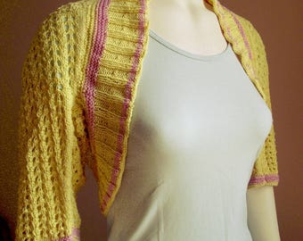 Bolero, lace, cotton, mid-length sleeves, soft yellow and pink soft size 38/40