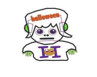 Halloween Monster Embroidery Applique Design,Boy Halloween Applique Design, Boy Monster, Applique Halloween File for instant download