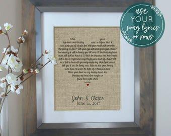 Wedding Gift Song Lyrics, Unique Wedding Gift for Couple, Wedding Song Lyric Art, Song Lyrics, Personalized Engagement Gift For Couple