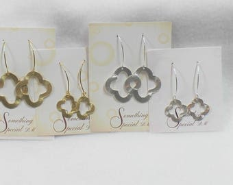 Quatrefoil Clover Earrings, Wider Open Quatrefoil in Gold, Silver, Large and Small