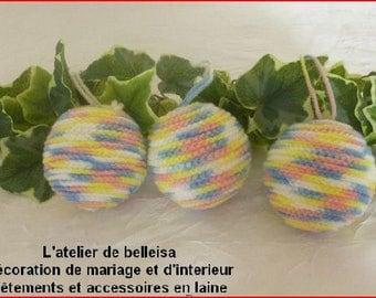 Set of 3 Christmas balls hanging made of wool blend