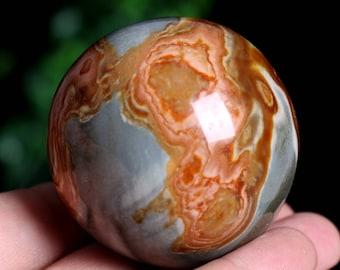 Madagascar Natural Ocean Jasper Quartz Crystal Sphere ball Healing J913