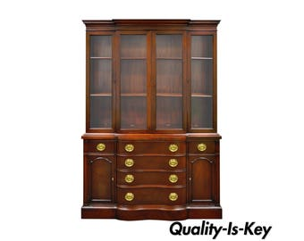 Vintage Drexel Serpentine Front Mahogany Lighted Display China Cabinet Cupboard