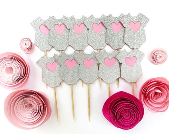 12 Silver Glitter & Pink Baby Girl Cupcake Toppers - Baby shower cupcake toppers, It's A Girl, gender reveal